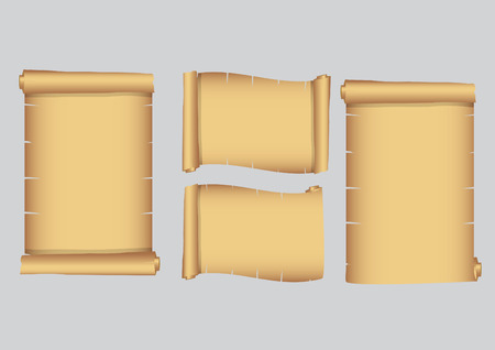 parchment scroll: set vector old scroll