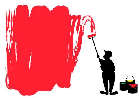 hombre pintando: hombre pintando la pared