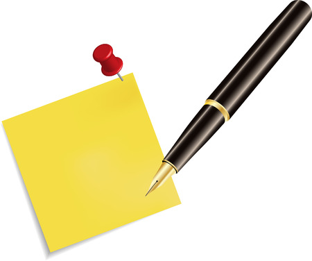 sticky note: Sticky Note Icon and pencil