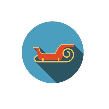 santa clause: Sledge of Santa Claus. ,Flat style with long shadows