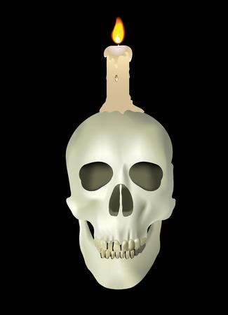 spiritless: candle on skull Illustration