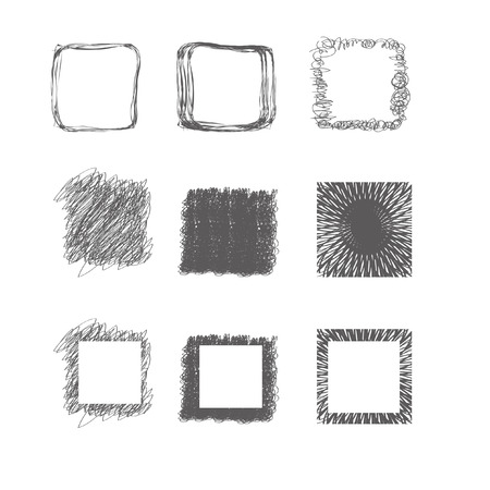 set of hand-drawn square Vector