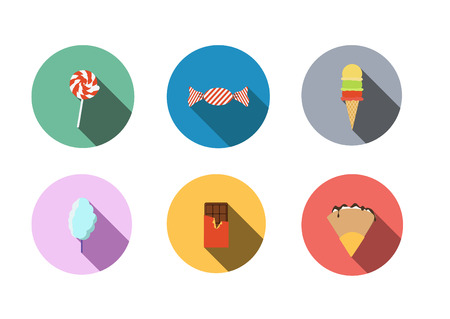 cotton candy: Flat icons Illustration