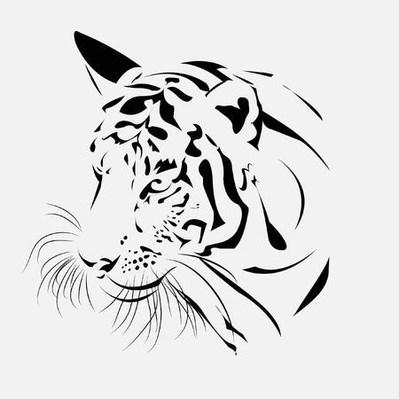 male portrait: Tiger head silhouette, Vector