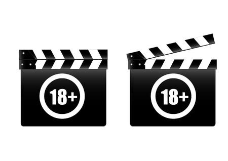 movie clapper: batacchio film con Tasso 18+ Vettoriali