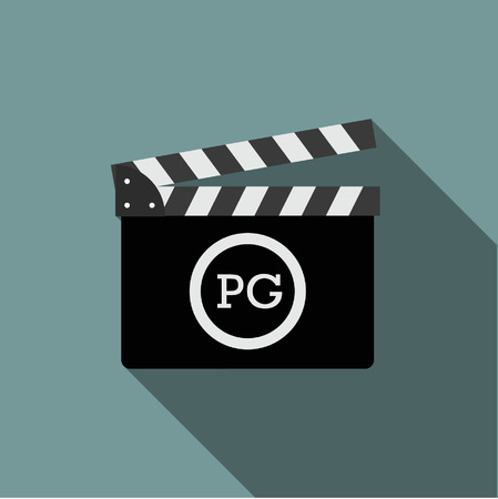 pg: movie clapper with Rate pg