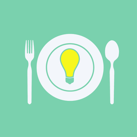 fork and spoon: fork, spoon, dish and lamp Illustration