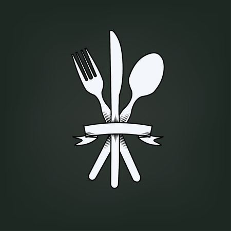 knife fork: knife, fork and spoon with label Illustration
