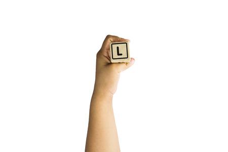 comunicacion no verbal: alfabeto L en mano, los medios de comunicaci�n de instrucciones Foto de archivo