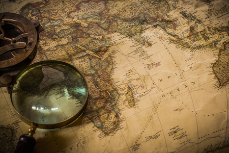 old map with compass and Magnifier Stock Photo