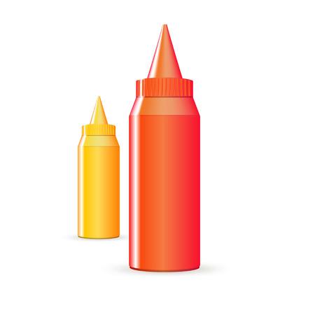 mustard: Bottles of ketchup and mustard Illustration