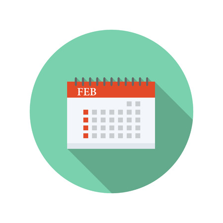 calender,Flat style with long shadows Vector