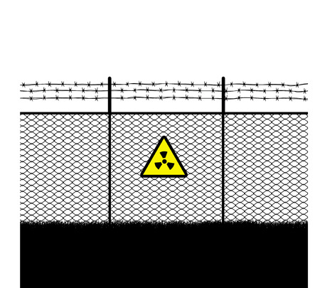 gas mask warning sign: barb with  warning sign radioactivity Illustration