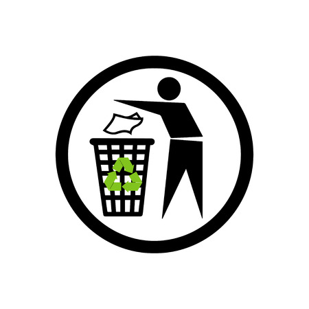 littering: People with trash sign Illustration