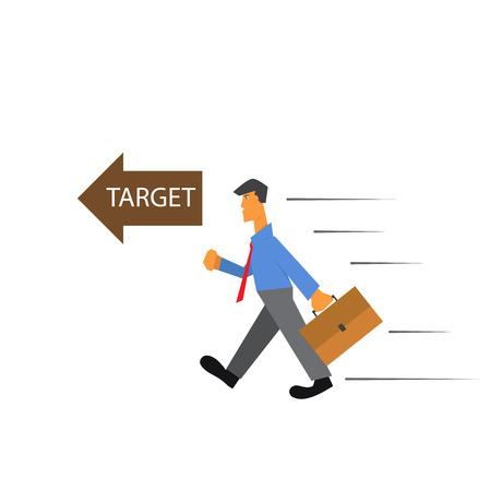 walking path: Business man walking to target