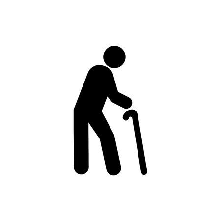 guy with walking stick: old man icon