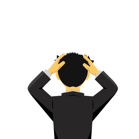 man looking out: businessman looking at a empty Illustration