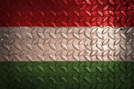 hungary: hungary flag,metal texture