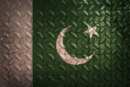 pakistan flag: pakistan flag,metal texture