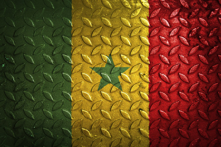 senegal: senegal flag,metal texture Stock Photo