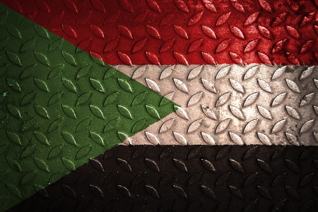sudan: sudan flag,metal texture Stock Photo
