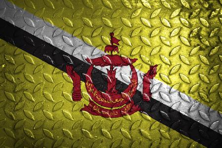 brunei darussalam: Brunei Darussalam flag,metal texture Stock Photo