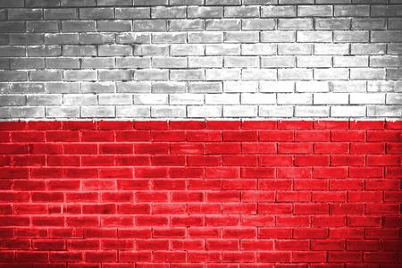 bandera de polonia: bandera polaca, textura de la pared de fondo Foto de archivo