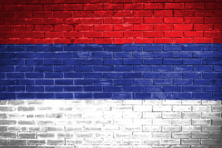 serbia: serbia flag,wall texture background Stock Photo