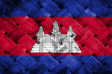 cambodia: cambodia flag,Weave Bamboo Stock Photo