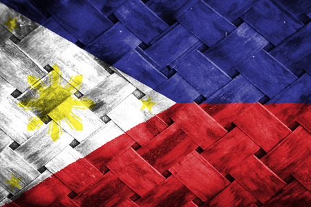 weave: phillippines flag,Weave Bamboo Stock Photo