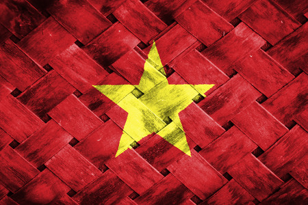 weave: vietnam flag,Weave Bamboo Stock Photo