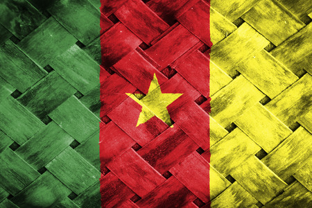cameroon: cameroon flag,Weave Bamboo Stock Photo