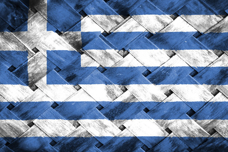 thatch: greece flag,Weave Bamboo Stock Photo