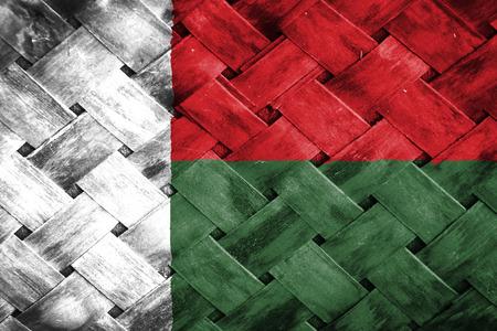 thatch: madagascar flag,Weave Bamboo Stock Photo