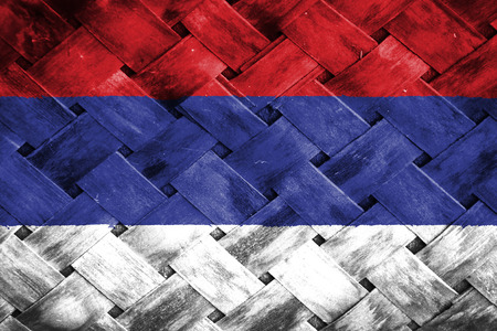 thatch: serbia flag,Weave Bamboo Stock Photo