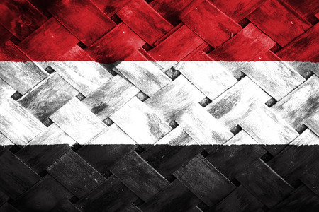 thatch: yemen flag,Weave Bamboo Stock Photo