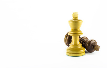 chess piece: chess wood on white background Stock Photo