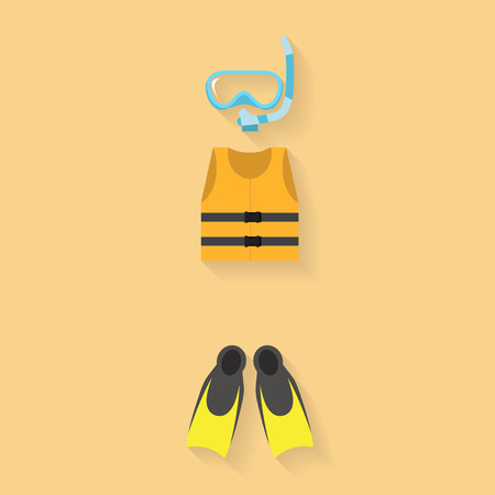 life jacket: life jacket with goggles and flipper