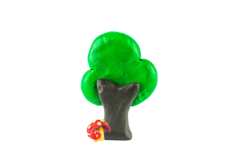 mushroom and tree ,clay on white background Banco de Imagens