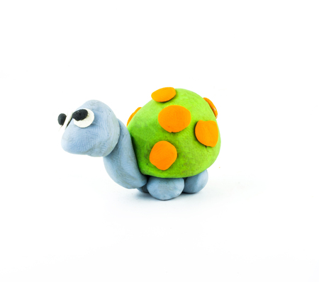 small group of animal: turtle  ,clay  on white background