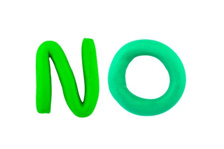 no: no,clay on white background Stock Photo