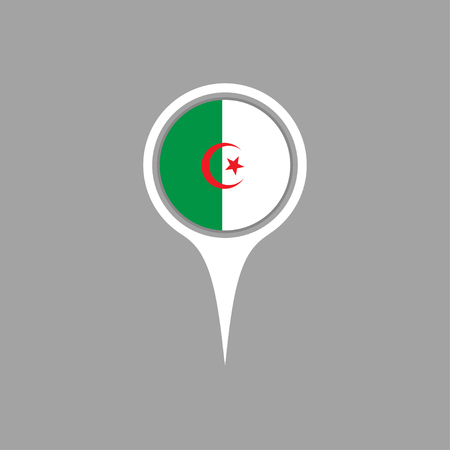flag pin: algeria flag,pin Illustration