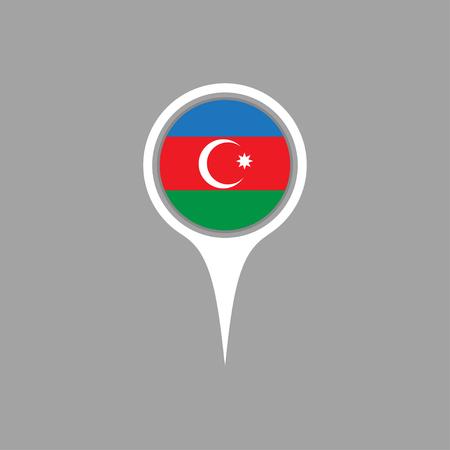 azerbaijan: azerbaijan flag,pin Illustration
