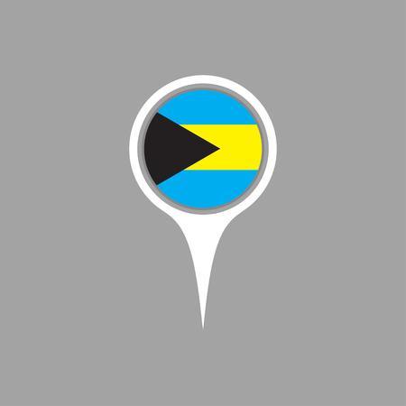 bahamas: bahamas flag,pin Illustration