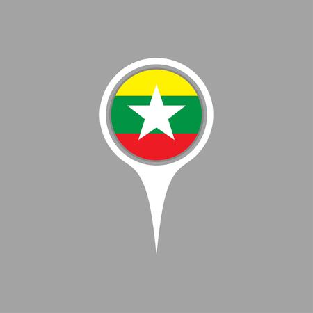 flag pin: burma flag,pin