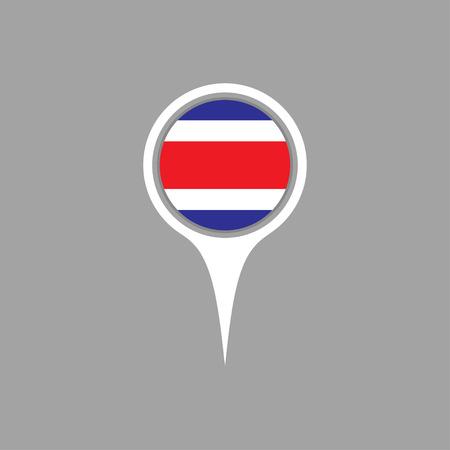 flag pin: costarica flag,pin Illustration