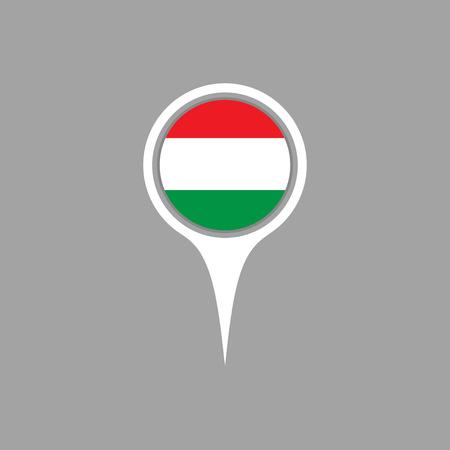 flag pin: hungary flag,pin Illustration