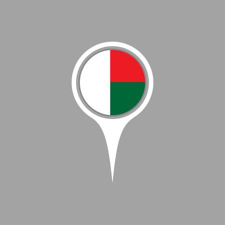 flag pin: madagascar flag,pin Illustration