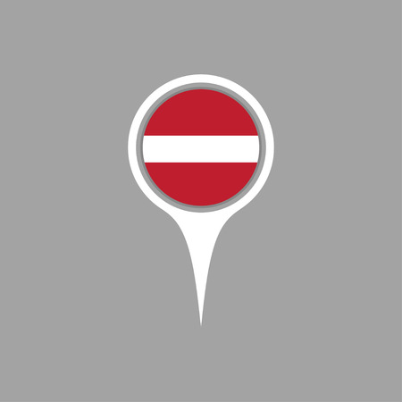 latvia flag: latvia flag,pin Illustration