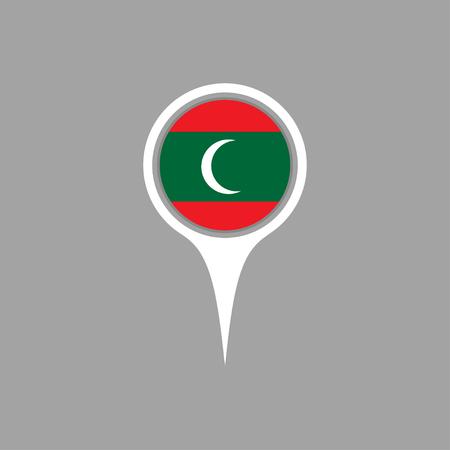 flag pin: maldives flag,pin Illustration